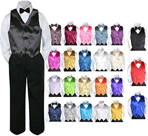 9d0b74e2f 4pc Baby Toddler Kid Boy Party Suit Black Pants Shirt Vest Bow tie Set Sm-