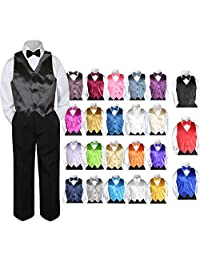 Leadertux 4pc Baby Toddler Kid Boy Party Suit Black Pants Shirt Vest Bow tie Set 5-7