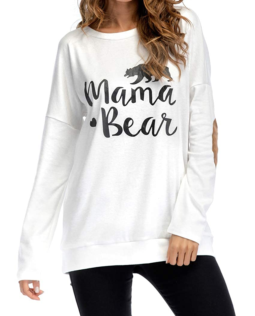 CFD Womens Casual Crew Neck Letter Print Long Sleeve Sweatshirt