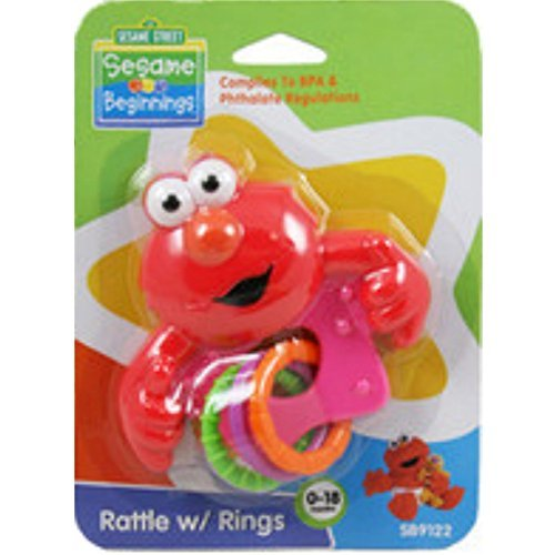 Sesame Street Elmo Rattle with Rings, BPA ()