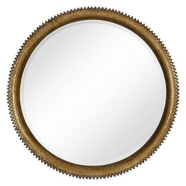 Majestic Mirror Modern Round Gold Leaf Crackle Beveled Wall Mirror