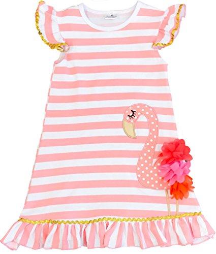 Toddler Little Girls Summer Flamingo Coral Stripes Dress 7/3XL (Coral Flamingo)