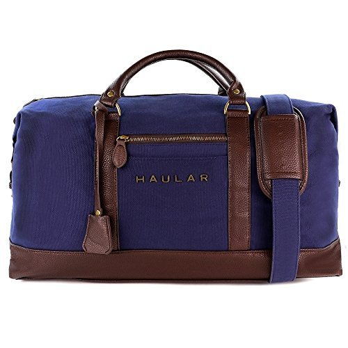 Weekender Bag, Haular Overnight Travel Carry On Duffel Tote Bag [Brass Finishing] Canvas - (Weekender Set)