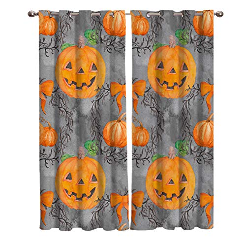 BABE MAPS 2 Panel Set Blackout Curtains Halloween Pumpkin Smiley Face Darkening Window Curtain Thermal Insulated Grommet Drape Panels for Living Room and Bedroom 52