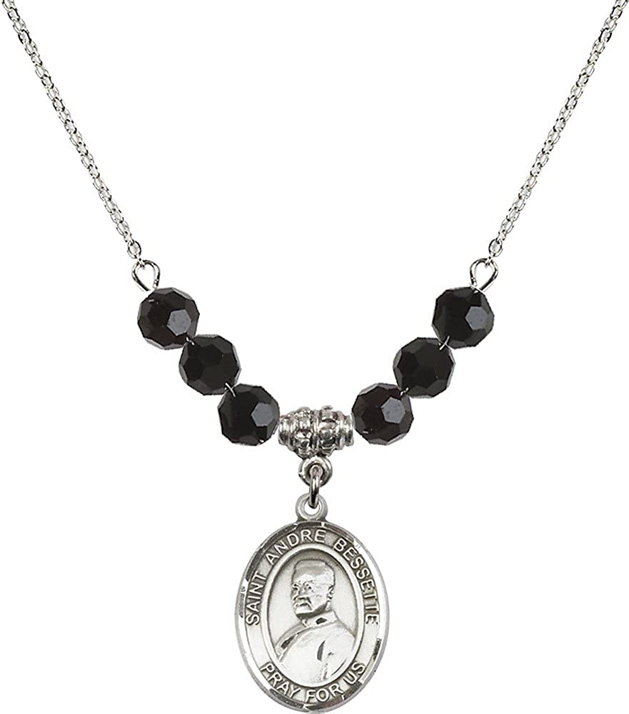 18-Inch Rhodium Plated Necklace with 6mm Jet Birthstone Beads and Sterling Silver Saint Andre Bessette Charm.
