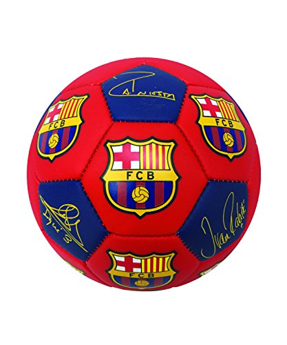fan products of FC Barcelona Signature Players Soccer Ball, Size #5, #4 and #2, Signatures of Messi, Suarez, Iniesta, Busquets, Pique, Rakitic, and other Barcelona Players(Size 4)