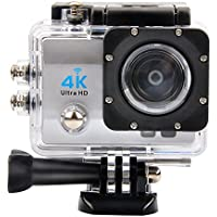 OTHA 4K Action Camera Full HD Wi-Fi Waterproof 1080p Sports Camera 2.0 Inch Screen 170 Wide Angle Lens with 900mAh Battery (Silver)