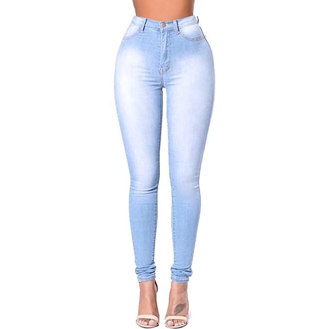 FuweiEncore Jeans Pitillo de Mujer Jeans de Cintura Alta ...