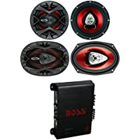 2) Boss CH6520 6.5 250W + 2) 6x9 350W 2-Way Car Speakers + 400W 4-Ch Amplifier