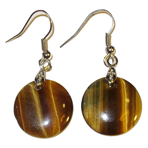 Tigers Eye Earrings 06 Golden Brown Circle Crystals Courageous Feline Energy Stones 1.6