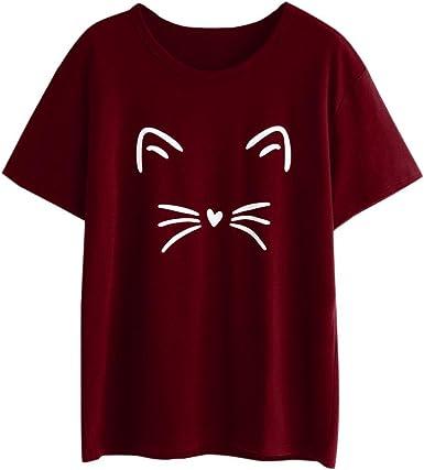 Camisas de Mujer, Dragon868 Mujeres Linda Casual Manga Corta O-Cuello Gato Impreso Blusa: Amazon.es: Ropa y accesorios