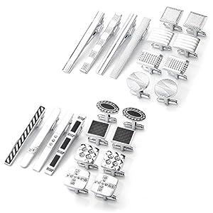 Zysta Set of 12pcs Stainless Steel Men's Classic Exquisite GQ Necktie Tie Clips Bar + Shirts Cufflinks Groom Wedding Business Shirt Men's Jewelry
