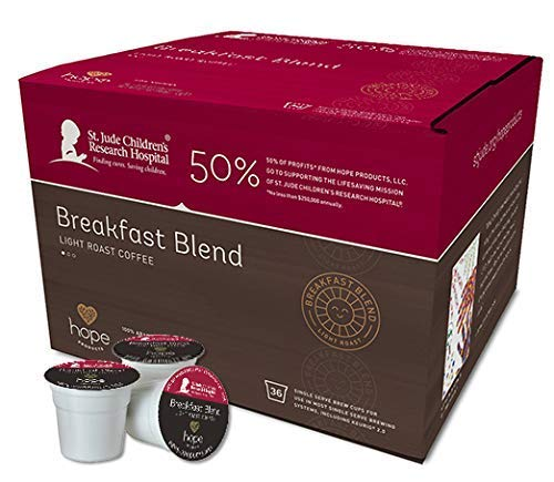 Hope Products Coffee, BREAKFAST BLEND, 36 Count-Single Serve Cups,K-Cup, 50% of Profits go to St. Jude Children's Research Hospital