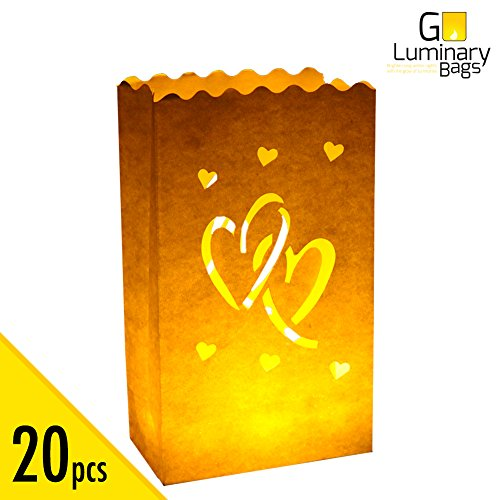Heart Duo (20pcs Luminary Candle Bags Special Lantern Luminary Bag with Duo Heart Durable and Reusable Fire-Retardant Cotton Material Superb for Wedding Valentine Reception Engagement Event or Marriage Proposal)