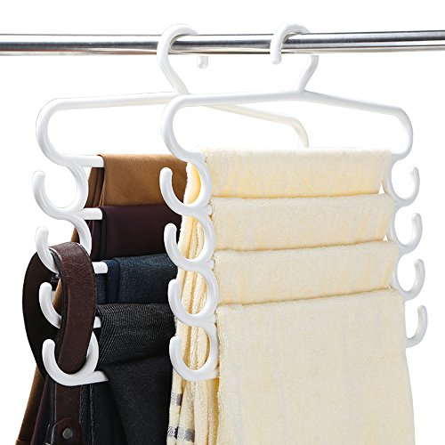 AJ 5 PACK Multi-Purpose Closet Organizer Magic Trousers Pants Tie Slack Rack Hanger, (5 Pack Plastic Hangers)