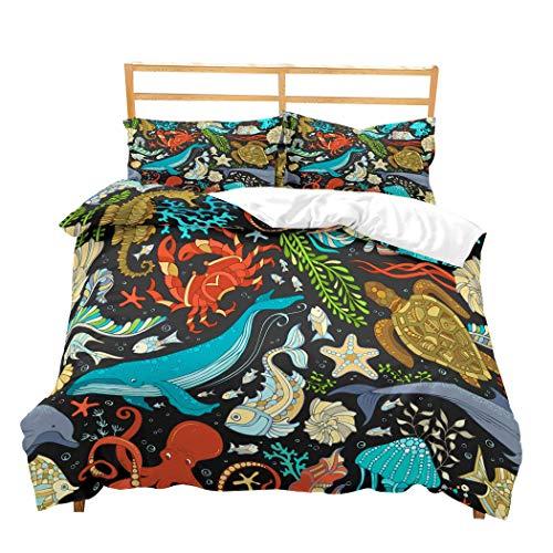 Feelyou Sea Animals Duvet Cover Set for Kids Boys Girls 3D Print Aquarium Bedding Set Twin Colorful Decorative Microfiber Polyester Comforter Cover with 1 Pillow Shams, Zipper, 2 Pieces