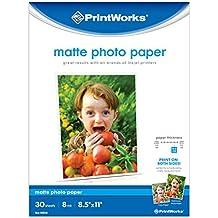 "Printworks Matte Photo Paper for Inkjet Printers, Printable on Both Sides, 8 mil, 30 Sheets, 8.5"" x 11"" (00548)"