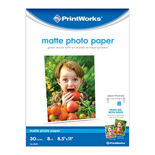 Printworks Matte Photo Paper for Inkjet Printers, Printable on Both Sides, 8 mil, 30 Sheets, 8.5