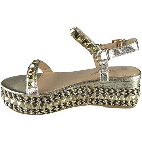 Miss Image UK Damen mit Nieten Besetzt Niedrig Keilabsatz Espadrille Plateau Knöchelriemen Sandalen Schuhe Größe Gold