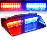 Automotive : Xprite Red & Blue 16 LED High Intensity LED Law Enforcement Emergency Hazard Warning Strobe Lights For Interior Roof / Dash / Windshield With Suction Cups