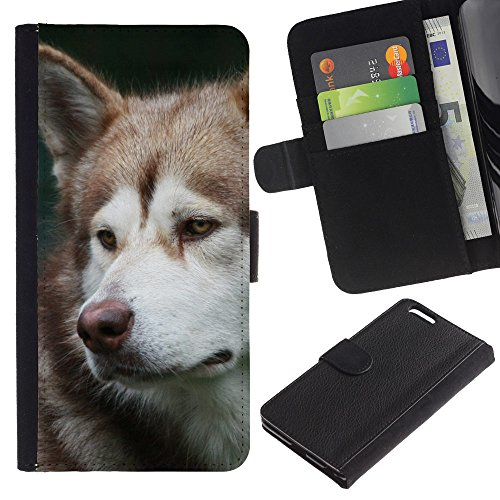 EuroCase - Apple Iphone 6 PLUS 5.5 - alaskan malamute husky sad muzzle - Cuir PU Coverture Shell Armure Coque Coq Cas Etui Housse Case Cover