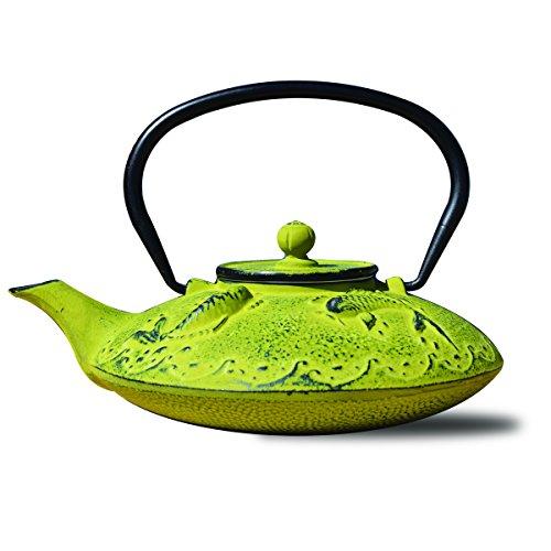 """Old Dutch 1035MO Cast Iron """"Ogon Koi"""" Teapot, 25 oz, Moss Green"""