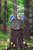 Toland Home Garden Birds on a Bucket 28 x 40 Inch Decorative Spring Blue Bird Outdoors Forest House Flag