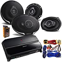 "Kenwood KAC-6407 550 Watts 4-Channel Amplifier + (2) KFC-1695PS 320W 6.5"" 3-Way Speakers + (2) KFC-6995PS 125W 6X9'' 5-Way Speakers + Amp Kit"