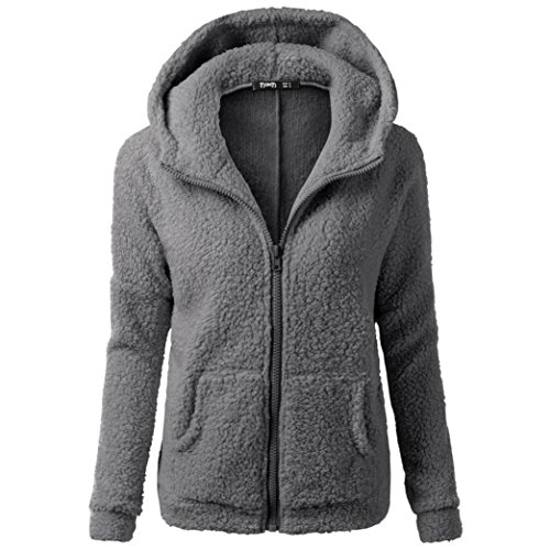 Tsmile Women Coat Clearance Fashion Women Winter Warm Wool Soft Zipper Hooded Sweater Outwear (Middle, Dark Gray) (Cream Silk Blazer)