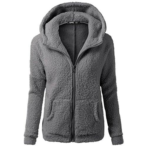 Tsmile Women Coat Clearance Fashion Women Winter Warm Wool Soft Zipper Hooded Sweater Outwear (Middle, Dark Gray) (Cream Silk Blazer)