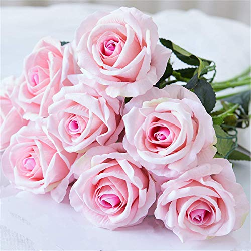 Louiesya Artificial Flowers Bouquet Silk Roses 6 Pcs Fake Flowers Real Touch Bridal Wedding Bouquet for Home Garden Party Floral Decor(Light - Rose Pink Light