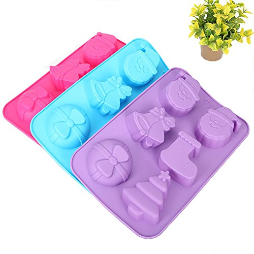 Christmas Jello Mold - 6MILES 6 Cavity 3D Christmas Theme Mold Fondant Cake Candy Pudding Chocolate Jelly Silicone DIY Mold Decoration Heat Resistant Funny Mould (Random color, Santa Claus)