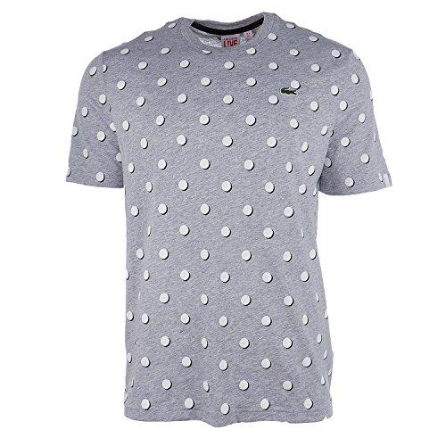 Lacoste Men's Live Crew Neck Polka DOT Jersey T-Shirt (7-2X-Large, Silver ()