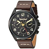 Timberland Men's 'BARTLETT II' Quartz Stainless Steel and Leather Dress Watch, Color:Brown (Model: TBL14844JSB02)