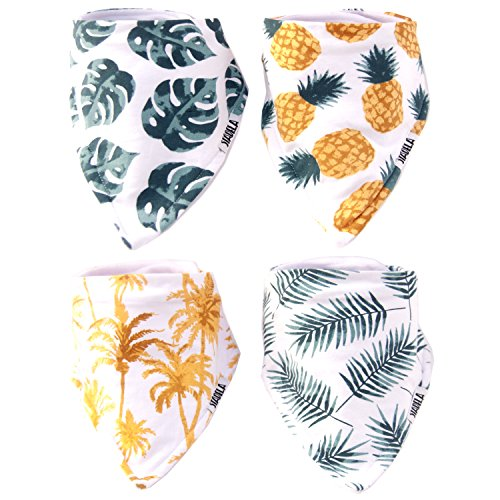 Stadela Baby Adjustable Bandana Drool Bibs for Drooling and Teething Nursery Burp Cloths 4 Pack Unisex Baby Shower Gift Set for Girl and Boy - Palm Tropical Leaf Hawaii Surfing - Toddler Newborn Cloth Burp