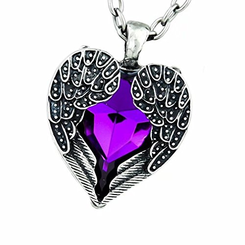 Jahyshow Gothic Purple Stone Heart Necklace Fallen Angel Wings ()
