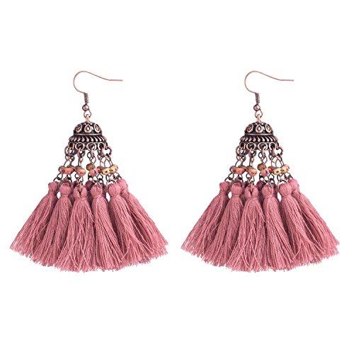 - D EXCEED Ethnic Statement Thread Tassel Earrings Bohemian Beaded Glass Cluster Tassel Dangle Drop Earrings for Women Dark Pink