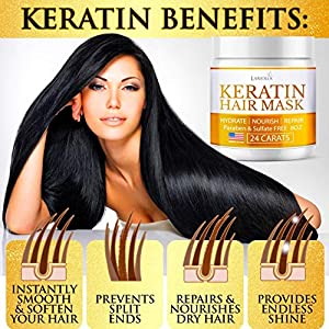 Keratin Hair Mask – Repairs Dry & Damaged Hair – Professional Keratin Hair Treatment with Avocado Oil – Aloe Vera – Vitamin E – Made in USA – Effective Keratin Complex – Anti Frizz