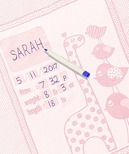 Personalized Baby Blanket Unique Shower Gifts Registry Idea for New-born Girls Boys Twins Moms Customized Receiving Keepsake Item with Special Pen to Write Name Birthday Weight (Giraffe & Chicks Pink)