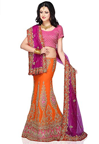 Embroidered Crepe Lehenga in Orange and Magenta