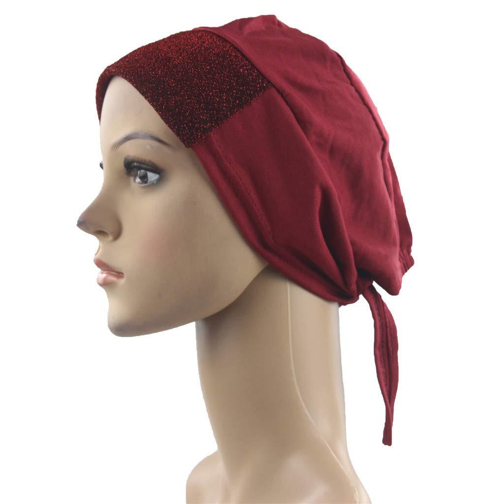 Chemo Cancer Head Scarf Hat Cap Ethnic Turban Headwear Women Women's Solid Color Muslim Beanie Scarf Red