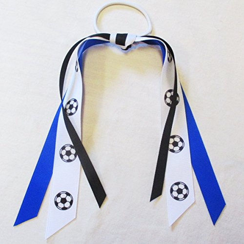 Soccer Ribbon Scrunchie - Made in the USA, Many colors available, Royal/Black
