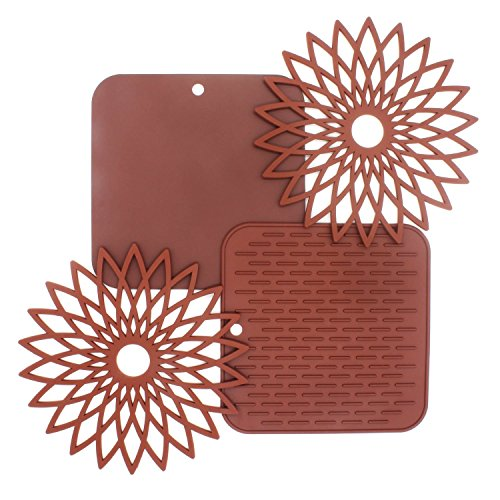 Silicone Trivet Mats, 4 set Multi-Use Trivets | Hot Pads, Pot Holders, Spoon Rest & Coasters, Flexible Trivets for Dishes, Hot Pots and Pans