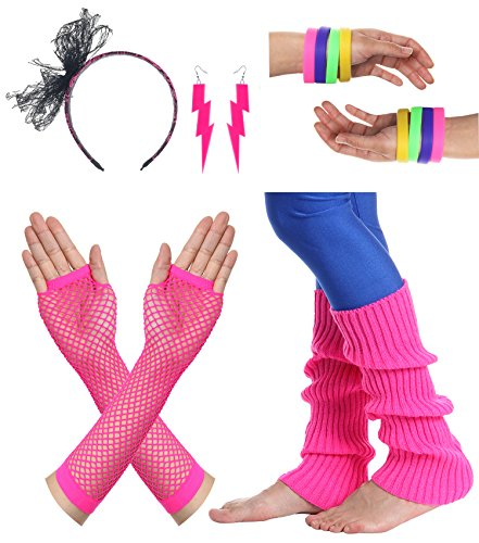 JustinCostume Women's 80s Outfit accessories Neon Earrings Leg Warmers Gloves (Q) -