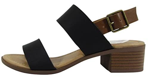 d7942173a68 Cambridge Select Women s Open Toe Two Strap Buckle Slingback Chunky Stacked  Block Mid Heel Sandal (