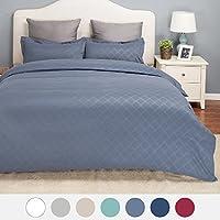 Bedsure Duvet Cover Set with Zipper Closure Diamond Pattern Twin (Grayish Blue)