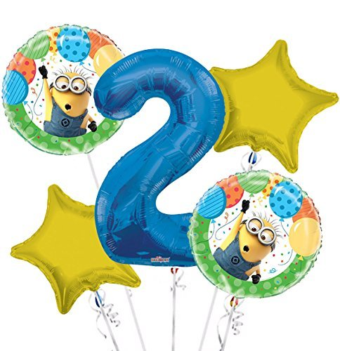 Minions Despicable Me Balloon Bouquet 2nd Birthday 5 pcs - Party Supplies -