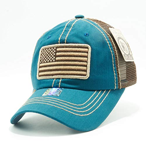 Honor Country USA American Flag Baseball Cap Black - Turquoise Teal