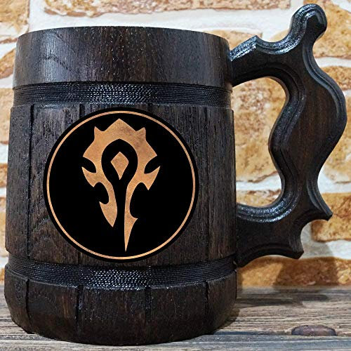Horde Mug, World Of Warcraft Engraved Beer Mug Gift, WOW Wooden Mug, Tankard, Personalized Groomsmen. Beer Stein, Personal Gift for Men, Gift for Him