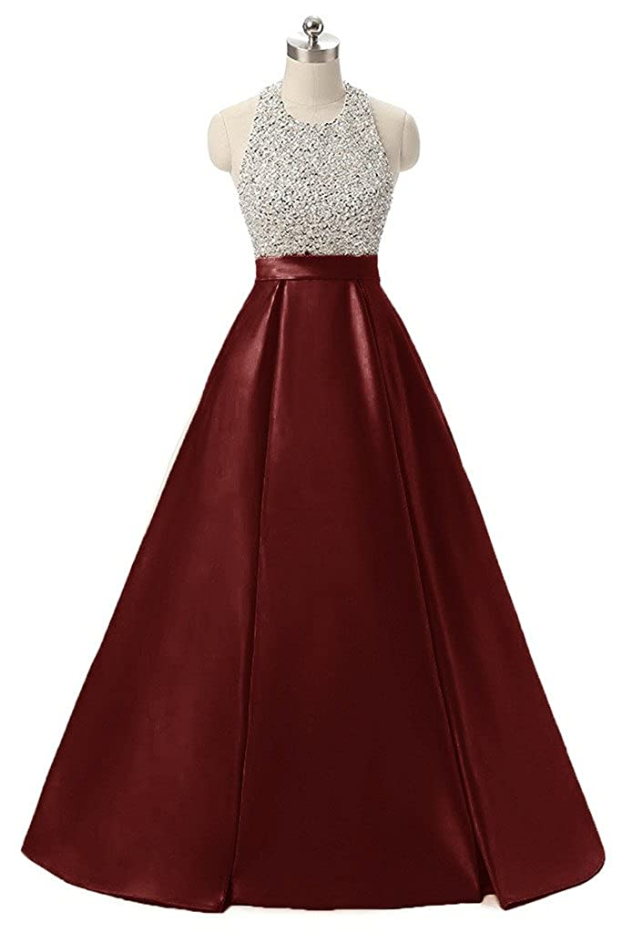Burgundy APXPF Women's Long Beaded Halter Formal Prom Dress Evening Party Gown
